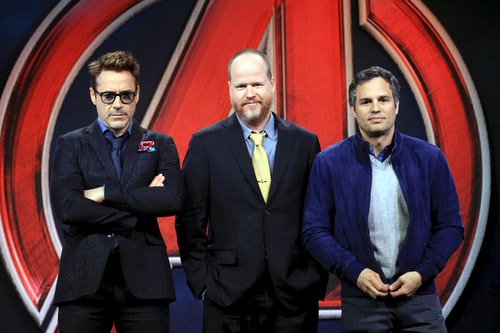 "Director Joss Whedon poses with cast members Robert Downey Jr. and Mark Ruffalo at a news conference for ""Avengers: Age of Ultron"" in Beijing"