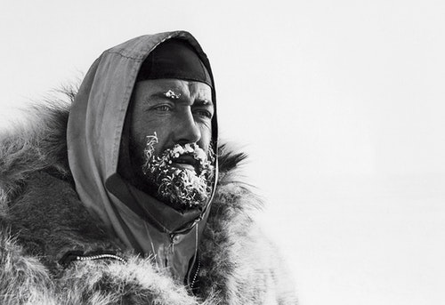 Explorer Sir Wally Herbert in the early stages of his Arctic crossing, February 1968.