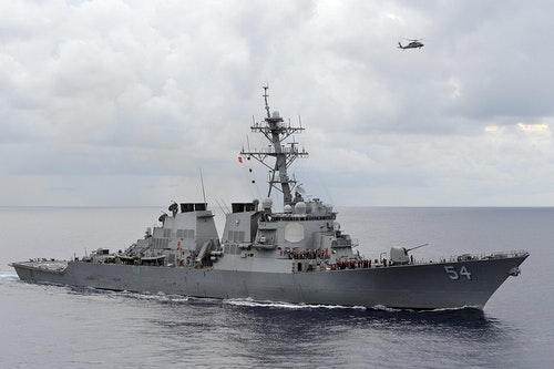 Handout file photo of the U.S. Navy guided-missile destroyer USS Curtis Wilbur patrolling in the Philippine Sea