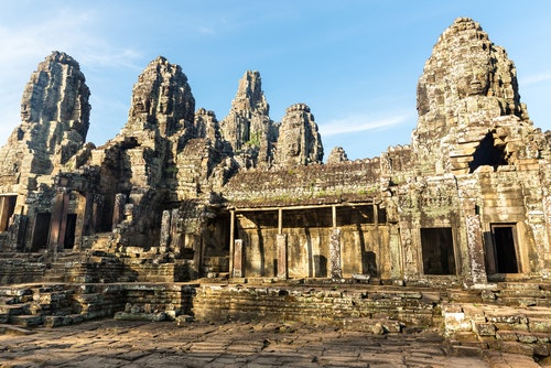 Remains of Angkor  temple in Cambodia